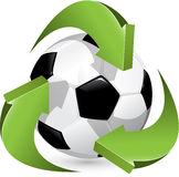 Soccer and green arrows Royalty Free Stock Photo