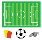 Soccer green field. With the ball and whistle and cards Vector Illustration