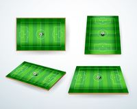 Soccer, european football field in different point of perspective view. Isolated vector illustration. Soccer green field for game Royalty Free Stock Image