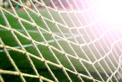 Soccer grid on the green field Stock Photography
