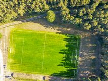 Soccer ground aerial in spring royalty free stock photos