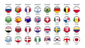 Soccer groups 2018. Soccer groups for 2018 worldcup in russia with different countries royalty free illustration