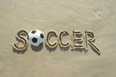 Soccer Handwritten Football Message Sand Beach Royalty Free Stock Photo