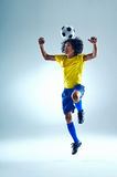 Soccer header. Soccer fotball player header ball with skill Stock Photos