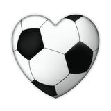 Soccer heart. Soccer love, isolated heart from traditional black white soccer ball on white background vector illustration