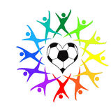Soccer heart with colorful icons Royalty Free Stock Photography