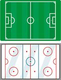 Soccer and hockey field. Partitioning playing fields for football and hockey Stock Photo