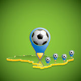 Soccer host cities map Royalty Free Stock Images