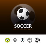 Soccer icon in different style Royalty Free Stock Images
