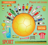 Soccer icon set in doodle style. Royalty Free Stock Photos