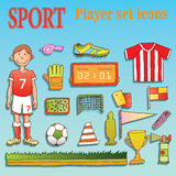 soccer icon set doodle style. Royalty Free Stock Photos