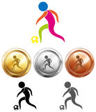 Soccer icon and sport medals Royalty Free Stock Photos