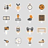 Soccer Icon Sticker Set Stock Photos