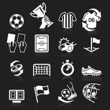 Soccer icons on black background. Royalty Free Stock Image