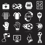 Soccer icons on black background Royalty Free Stock Images