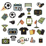 Soccer icons colors. Soccer icons retro colors set on white background. Vector Stock Photography