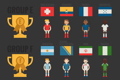 Soccer icons Group E-F. Flat design Royalty Free Stock Image