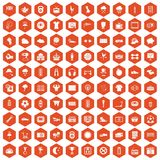 100 soccer icons hexagon orange. 100 soccer icons set in orange hexagon isolated vector illustration Royalty Free Stock Images