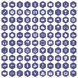 100 soccer icons hexagon purple. 100 soccer icons set in purple hexagon isolated vector illustration Stock Image