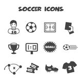 Soccer icons. Mono vector symbols Stock Photos
