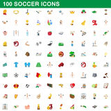 100 soccer icons set, cartoon style. 100 soccer icons set in cartoon style for any design vector illustration Royalty Free Stock Photos
