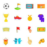 Soccer icons set, cartoon style Stock Images
