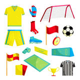 Soccer Icons set, cartoon style Royalty Free Stock Images