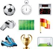 Soccer icons set stock illustration