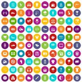100 soccer icons set color. 100 soccer icons set in different colors circle isolated vector illustration Royalty Free Stock Photo