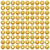 100 soccer icons set gold. 100 soccer icons set in gold circle isolated on white vector illustration Royalty Free Stock Images
