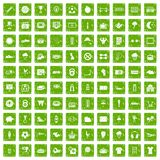 100 soccer icons set grunge green. 100 soccer icons set in grunge style green color isolated on white background vector illustration Royalty Free Stock Images