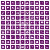 100 soccer icons set grunge purple. 100 soccer icons set in grunge style purple color isolated on white background vector illustration Stock Photo