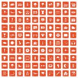 100 soccer icons set grunge orange. 100 soccer icons set in grunge style orange color isolated on white background vector illustration Royalty Free Stock Photos