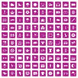 100 soccer icons set grunge pink. 100 soccer icons set in grunge style pink color isolated on white background vector illustration Royalty Free Stock Photo