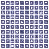 100 soccer icons set grunge sapphire. 100 soccer icons set in grunge style sapphire color isolated on white background vector illustration Royalty Free Stock Images