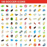 100 soccer icons set, isometric 3d style. 100 soccer icons set in isometric 3d style for any design illustration stock illustration