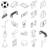 Soccer icons set, isometric 3d style Stock Photo