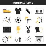 Soccer Icons. Set of modern flat soccer icons. Vector football symbols, including goal, players, uniform, ball, medal, prize. Pefect set of sport pictograms for Royalty Free Stock Photo