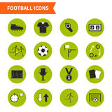 Soccer Icons. Set of modern flat soccer icons. Vector football symbols, including goal, players, uniform, ball, medal, prize. Pefect set of sport pictograms for Royalty Free Stock Images