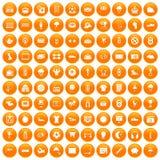 100 soccer icons set orange. 100 soccer icons set in orange circle isolated on white vector illustration Stock Photo
