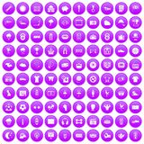 100 soccer icons set purple. 100 soccer icons set in purple circle isolated on white vector illustration Stock Images