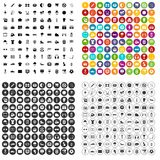 100 soccer icons set vector variant. 100 soccer icons set vector in 4 variant for any web design isolated on white Royalty Free Stock Photo