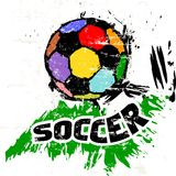 Soccer illustration. With soccer ball, grungy style Royalty Free Stock Photo
