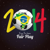 Soccer Illustration For Brazil 2014 Editable Royalty Free Stock Image