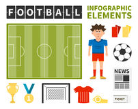 Soccer Infographic. Football infographic elements - football player, ball, goal, newspaper, medal, field made in vector. Soccer championship elements for your Royalty Free Stock Photography