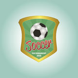 Soccer. Isolated heraldry shield with a soccer ball and text. Vector illustration Royalty Free Stock Photography