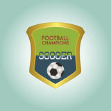Soccer. Isolated heraldry shield with text and a soccer ball. Vector illustration Stock Photos