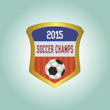 Soccer. Isolated heraldry shield with text and a soccer ball. Vector illustration Royalty Free Stock Images
