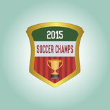 Soccer. Isolated heraldry shield with text and a trophy. Vector illustration Royalty Free Stock Image