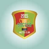 Soccer. Isolated heraldry shield with text and a trophy. Vector illustration Royalty Free Stock Photo